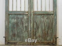 Paire De Vintage Rustique Indiens De Bois Franc Jali Garden Gate Portes (ref516)
