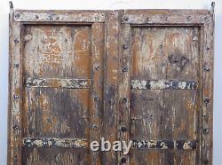 Paire De Volets De Volets En Bois Indiens Antiques Moulin-561