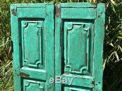 Paire Vintage Régénérés En Bois Indien Lambrissé Art Déco Volets Jade