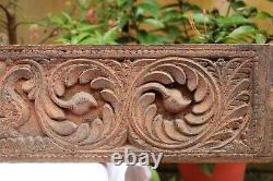 Panneau Antique De Mur Floral En Bois Antique Sculpture D'art Main Découpée Rare Cru