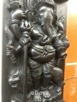 Panneau De Mur En Bois De Ganesh Hindu Vintage Standing Ganesha Sculpture Statue Decor