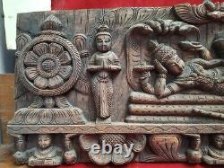 Panneau De Mur Vishnu Temple Hindou En Bois Ancienne Statue Ananthasayanam Sculpture Us