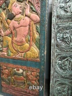Panneau De Porte De Découpage Indien Artistique Rama Vintage Main Sculpture En Bois Sculpté 72x36