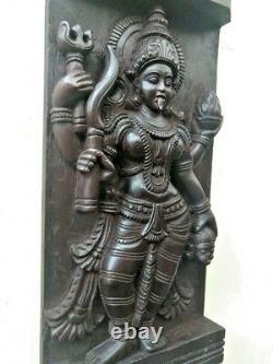 Panneau Mural De Temple Vintage Hindou Durga Kali Devi Panel Sculpture Statue Décor Vieux