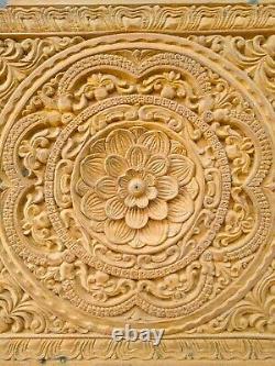 Panneau Mural Floral Antique Mandala Teckwood Main Sculpté Décor Vintage Plaque Art