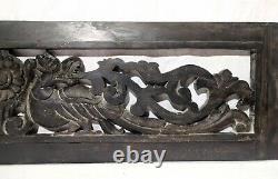 Panneau Mural Suspendu En Bois Antique Dragon Main Sculptée Vintage Estate