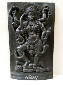 Panneau Vintage Kali Devi Temple Hindou Mur Durga Sculpture Panneau 3d Old Statue