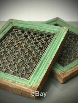 Paravents Indien Jali. Grand Teck Et Fer Pierced Écran. Vintage Rajasthan