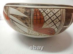 Pauline Setalla Lrg Antique Vintage Hopi Pueblo Indian Dough Bowl Potterie