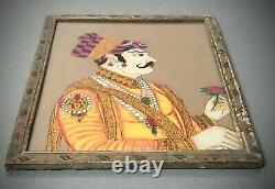 Peinture Indienne En Verre Inversé Vintage, Portrait De Maharaja. Grande. Élite Moghole