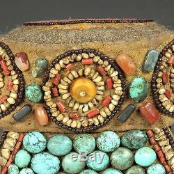 Pierres Semi-précieuses Perles Vintage Perak Cap Ornement Ladakh Inde Adornment