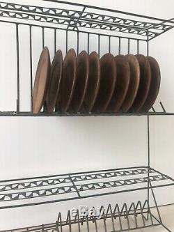 Plaque Antique Vintage Fil Rack De Stockage Industriel Indien Unité Cabinet Égouttoir