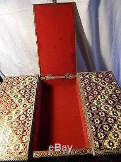 Poitrine Vintage Boîte À Bijoux Décoratifs En Laiton De Bureau En Bois Inlay 44cm Par 30cm