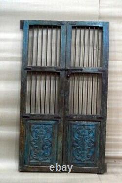Porte Ancienne Rustique Indienne Jali Préservée À Partir Du Milieu Des Années 90