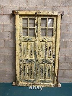 Porte En Bois Antique De Panneau Indien Rustique De Panneau De Verre De Cru Avec Le Cadre