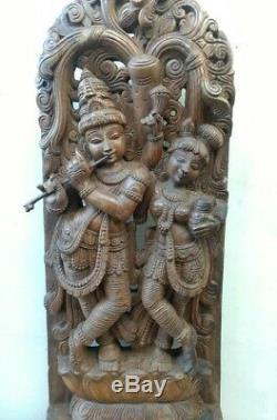 Radha Krishna Sculpture Dieu Hindou Statue Krsna Panneau Mural En Bois Vintage Décor U