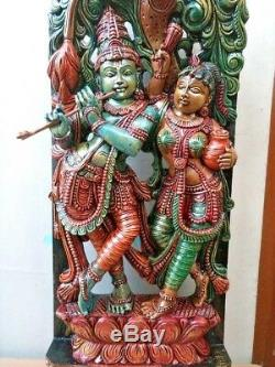 Radha Krishna Sculpture Dieu Hindou Statue Vintage Krsna Panneau Mural En Bois