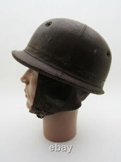 Rare Antique Vintage 20's 30's Motorcycle Leather Helmet Harley Indian Racing Tt