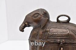 Rare Sud Antique Boîte De Dot Bronze Éléphant Indien Antiquités Art Décoratif Vtg