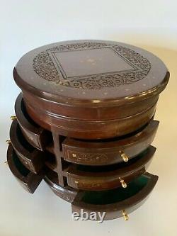 Ronde Orientale Antique Cabinet 6 Tiroirs Découpages Pose Libre Vintage Solide