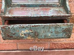 Salle De Bains Indian Vintage En Bois Miroir Avec Tiroir Distressed Peinture Turquoise