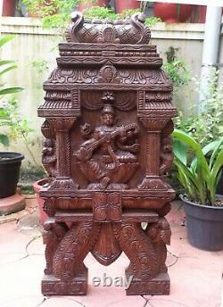 Saraswati Statue Panneau De Mur Temple En Bois De Kavadi Gopuram Sculpture Vintage Décor