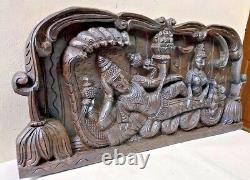Seigneur Vishnu Mur Suspendu Bois Ancien Panneau Temple Hindu Dieu Sculpture Statue