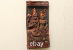 Shiva Parvati Statue Hindu Dieu Sculpture Panneau Mural En Bois Accueil Décor Vintage