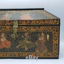 Stockage Vintage En Bois Boîte Avec Fermoir Design Indien Avec Danse Femmes 15.5
