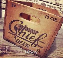 Super Rare Vtg 1950 Chief Bière Bois-crate Difficiles À Trouver-indienne! Peoria, IL