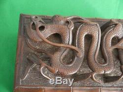Superbe Indien 1945 Vintage Bois Dur Boîte De Rangement Incroyable Sculpté Dragon Chinois