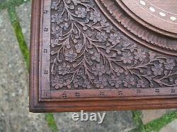 Superbe Vintage Inlaid Pliant Anglo/ Indien Table Latérale Avec Portes