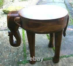 Table D'appoint Pour L'éléphant De Teck Indien Vintage
