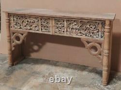 Table De Console Vintage Indienne Sculptée Polie