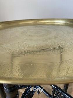 Table De Pliage Haut En Laiton Indien Vintage