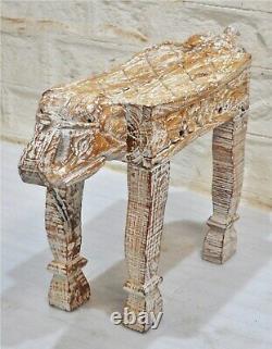 Tabouret Latéral En Éléphant De Bois De Style Vintage Banc Fine Main Sculptée Blanc Rustique