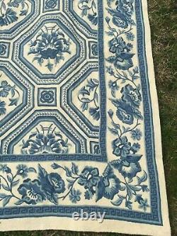 Tapis Vintage, Tapis Fait À La Main, Grand, Bleu Laine 6 X 9