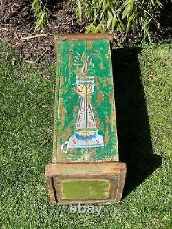 Vieille Affiche En Bois Indien Plinth Ideal Plant Lamp Stand Peint À La Main Vert