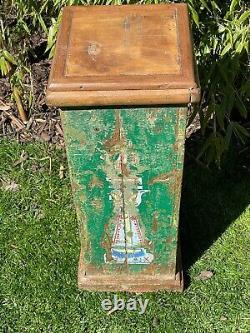 Vieille Affiche En Bois Indien Plinth Ideal Plant Lamp Stand Vert Peint À La Main