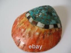 Vieille Antique Grande Pierre De Santa Domingo Incrustation Shell 3.5 Pouces Art Indien Plus Âgé