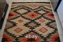Vieille Couverture De Laine Navajo Rug Native American Indian Textile Antique 73x53