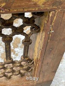 Vieille Fenêtre De Fer En Bois De Teck Indien Jali Écran Sauvé Au Rajasthan 4