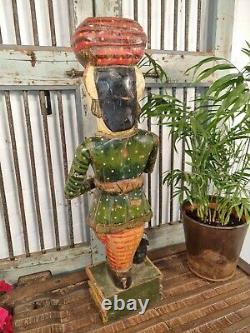 Vieille Main Peinte En Bois De Garde Indienne Statue Sculpture