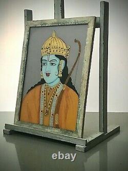 Vieille Peinture En Verre Inversé Indien. Déité Hindoue, Rama. Grand, Cadre Art Déco