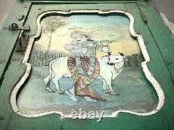 Vieille Peinture En Verre Inversé Indien. Krishna Dans La Porte Encadrée Art Déco. Antique