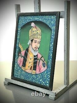 Vieille Peinture En Verre Inversé Indien. Prince Du Mughal, Très Fort Gilded