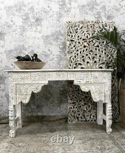Vieille Table De Console Sculptée Indienne