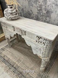 Vieille Table De Console Sculptée Indienne Blanchie À Blanc
