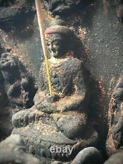Vieux Bouddha Indien Antique. Sanctuaire Bouddhiste / Altar. Katmandou Népal. Tibet