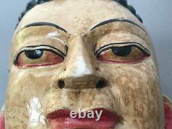 Vieux Masque De Bouddha Indien. Népalais Tibet Hindou, Déité Bouddhiste. Carré À La Main